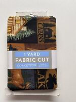 "1 Yard Fabric Cut 100% Cotton 36"" X 44"" Outdoor Moose Lake Cabin  Deer Camping"
