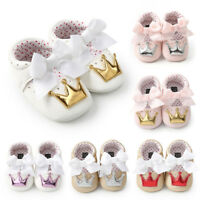Toddler Infant Baby Girl Crown Princess Shoes Soft Sole Anti-slip Sneakers Shoes
