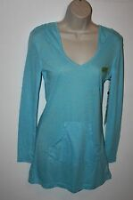 Earth Yoga Top Womens Size S Long Sleeve V-Neck Hoodie Organic Cotton Blue NEW