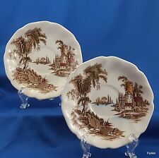 Johnson Brothers The Old Mill Saucers Set of 2 Brown w Multicolor  5-5/8""