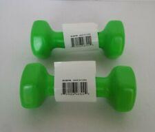 2 NEW SPRI DUMBBELLS DELUXE VINYL COATED HAND WEIGHTS ALL PURPOSE GREEN 3 LBS