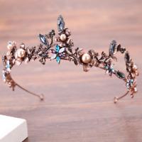 Vintage Princess Rhinestone Crystal Wedding Hair Tiara Crown Prom Veil Headband