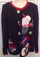 HEIRLOOM COLLECTIBLES Black Holiday Sweater Sz Large UGLY CHRISTMAS Santa Beads