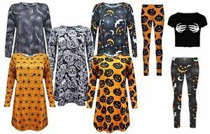 NEW WOMENS HALLOWEEN DRESS LADIES KIDS PRINTED LONG SLEEVE SWING DRESS