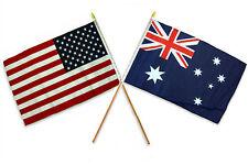 "12x18 12""x18"" Wholesale Combo USA American & Australia Australian Stick Flag"
