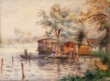 La Grenouillère à Bougival 1870 superbe & rarissime aquarelle d'un lieu mythique