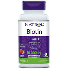 Natrol Biotin 10000 Mcg Fast Dissolve Strawberry Energy Supports 60 Tablets