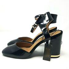Ladies Shoes UK 7 Black Patent Ankle Strap Block High Heel Square Toe Dressy