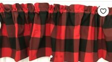 valance 14 x 42 inches red black buffalo check curtain nwot window decor new