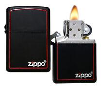 Zippo Lighter 218ZB Classic Black Matte W/Zippo & Border Windproof NEW