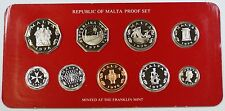1976 Republic of Malta Proof Set, 9 Gem Coins, Made by the Franklin Mint W/ COA