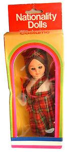 Vintage Early 1980s Boxed Nationality Scottish Girl Doll, Scotland, sleepy eyes