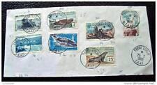 TAAF - timbre - yvert et tellier n°4, 6, 13A, 13B, 13C, 16 et 22 (obl 25/2/68)