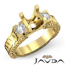 Round Diamond Antique 3 Stone Filigree Ring Semi Mount 14k Yellow Gold 0.35 ct.