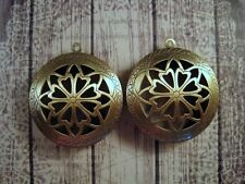 Large Antique Bronze Round Lockets (2) - P093 Jewelry Finding