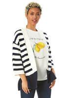 Stripe 3/4 Length Sleeve Cardigan - Women Roman Originals