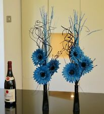Set of 2 blue floral displays black glass vases Weddings, HOME LIVING, Lounge