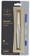 Parker Galaxy Stainless Steel Gold Trim Roller Ball Pen Ballpoint Pen