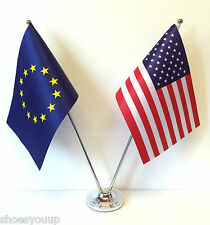 European Union EU & USA America Flags Chrome and Satin Table Desk Flag Set