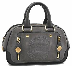 Authentic Louis Vuitton Stamp Bag Bowling PM Hand Bag Gray M95239 LV E0200
