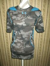 Euc men's Under Armour Heat Gear teal/gray camo Padded Compression shirt - Med