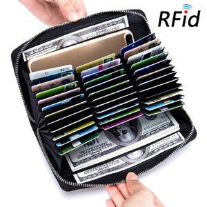 RFID Blocking Wallet Credit Card Holder Leather Long Zipper Wallet For Men Women