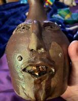 Vintage Studio Pottery Face Jug Vase - Signed by 2 Artists