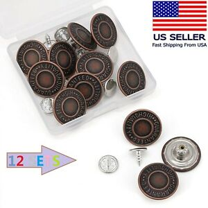 Jean Button Pins, 3/4 inch Vintage No Sew Instant Replacement Combo Copper Tack