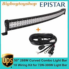 "50"" 288W FLOOD SPOT COMBO CURVED LED LIGHT BAR DRIVING OFF-ROAD LAMP SUV+ WIRING"