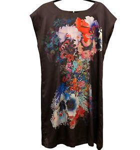 Cynthia Rowley Dress 12 Sleeveless Black Floral Shift