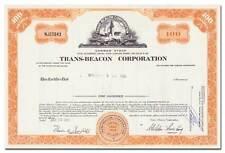 Trans-Beacon Corporation Stock Certificate (RKO Films, Lighthouse Vignette)