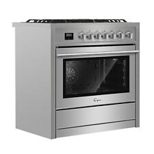 "Empava 36"" Slide-In Freestanding Single Oven Gas Range with 5 Burner Cooktop"