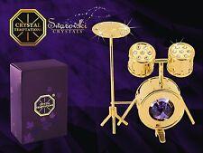 4381 Gold Schlagzeug Drums Swarovski Steine Kristall 24 Karat Crystal 8 cm