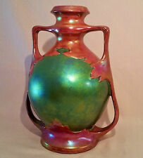 1873 ZSOLNAY VASE eosin green red table art antique pecs hungary vtg porcelain