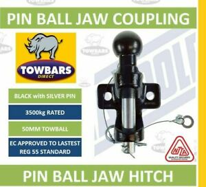 Black Ball & Pin Hitch Jaw Coupling 50mm Towball 3500kg 3.5Tonne Rated MP87
