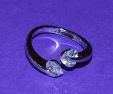 Adjustable Toe Ring/Mid Ring with Tension Set clear Heart in CZ