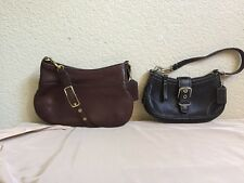 Lot Of Two Authentic COACH Brown /black Leather Mini Hobo Shoulder Bag C23-9295