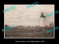 OLD LARGE HISTORIC PHOTO OF OUESSANT FRANCE, THE STIFF LIGHTHOUSE c1880