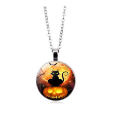 Black Cat On Pumpkin Halloween Necklace Ladies Silver Pendant Cute Costume Gift