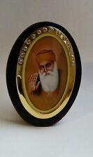 First Sikh Guru Nanak Dev Ji Photo Portrait wooden Sikh Khanda Desktop Stand G19