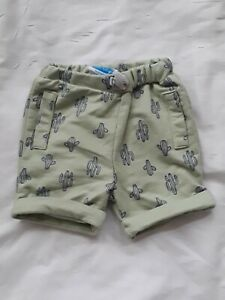 BON BEBE baby boy size 3-6 months green and blue CACTUS shorts