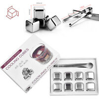Whiskey Stones Reusable Wine Cooling Cubes Ice Tongs Stainless Steel Chill Rocks