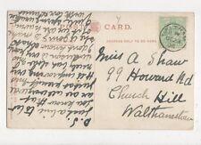 Miss A Shaw Howard Road Church Hill Walthamstow 1906 534a