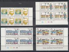 Nauru 1975 Phosphate Mining Anniversary set of 4 in blocks of 4. Muh. Sg 129-132