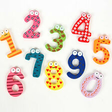 10PCS Wooden Cartoon Set Number 0-9 Fridge Magnets Children Kid Educational Toy