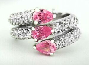 PINK 1.76 Cts & WHITE SAPPHIRES RING 14K WHITE GOLD PLATED NWT SIZE 7.5