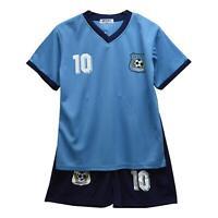 Boys Football Kits Shorts Set Girls T-Shirt Vest Blue Top Summer Size 2-14 Years