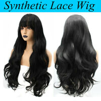 Women Synthetic Lace Front Wig Hair With Bangs Long Loose Wave Wavy Wigs Black