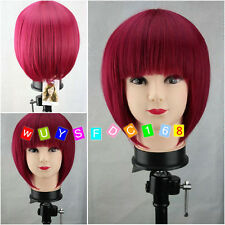 Latest New Short Rose Red Woman's Like real hair Wigs + free wig cap