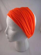 Bright orange headband jersey fabric stretchy kerchief elastic extra wide